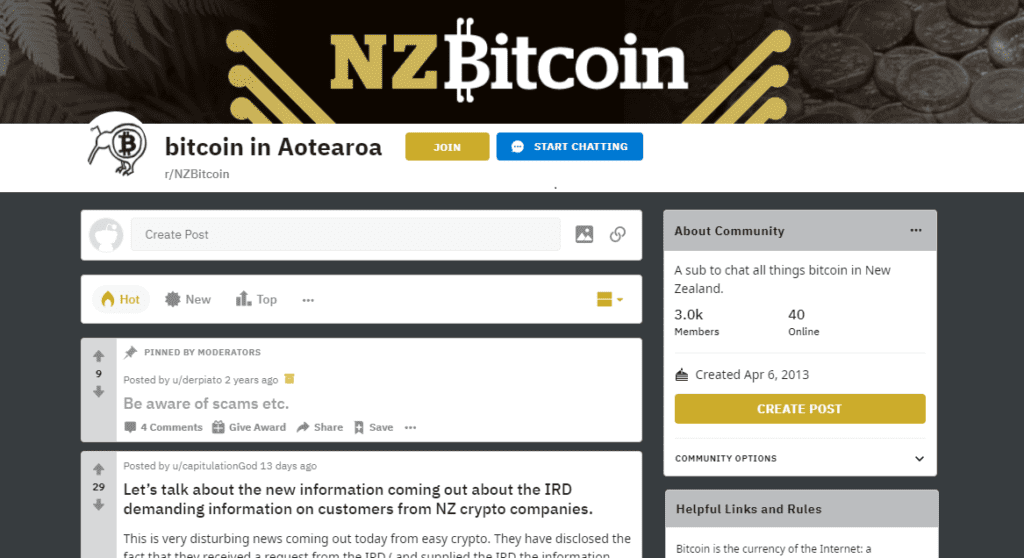 NZ Bitcoin subreddit