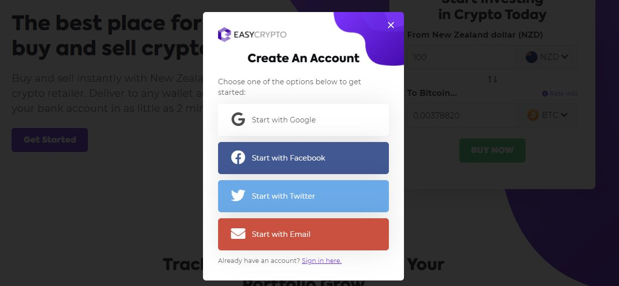 Set up an account to buy crypto