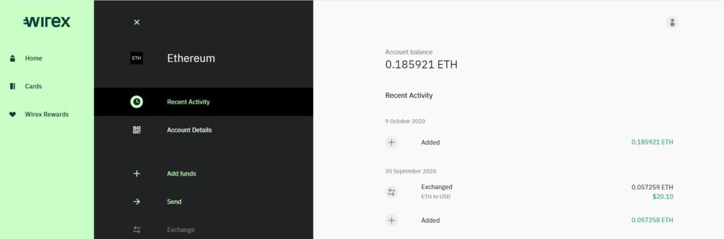 Wirex Crypto Debit Card  Desktop Interface