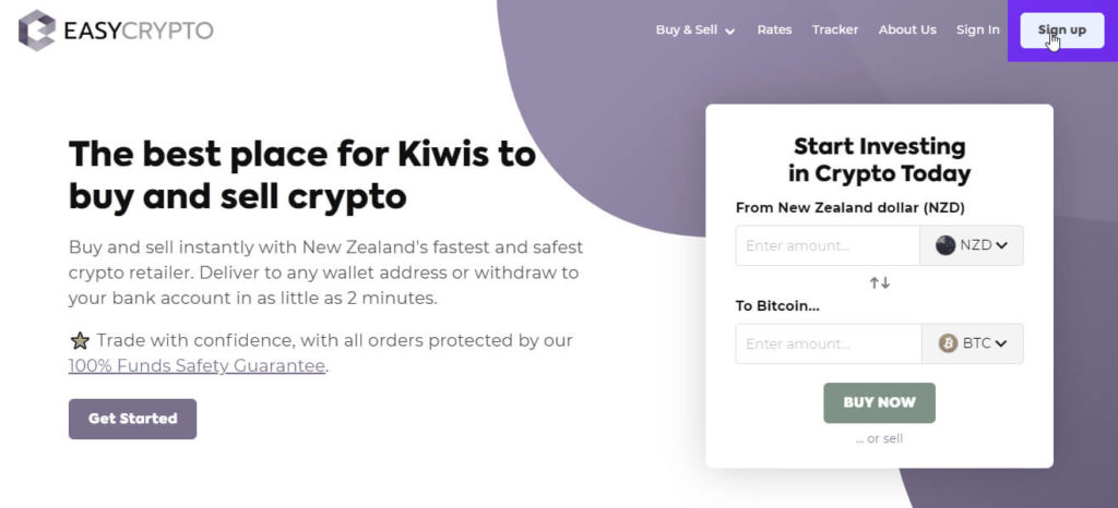 Sign up with Easy Crypto NZ